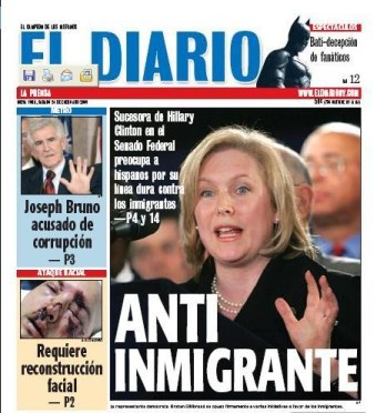 El Diario's 2009 cover story decrying Paterson's selection of Gillibrand to fill NY's open Senate seat.