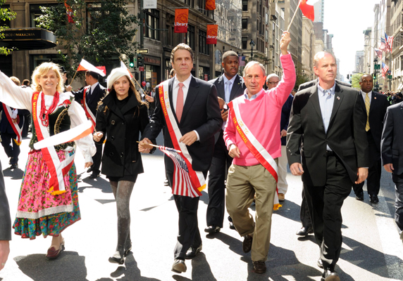AG candidate Dan Donovan (right) with Mayor Michael Bloomberg and candidate for governor Andrew Cuomo at the Pulaski Parade in New York City