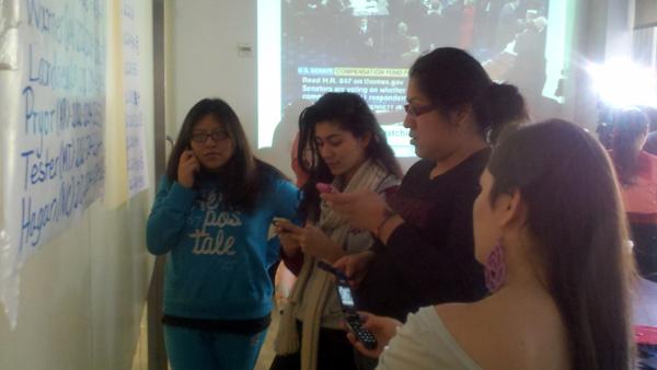 Youth advocates for the DREAM Act call Senators at the New York State Youth Leadership Council - Photo: Catalina Jaramillo