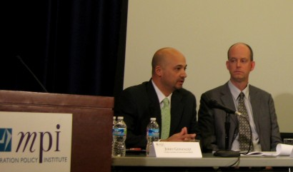 Jerry Gonzalez (left) and Randy Capps speaking at the Migration Policy Institute panel on the 287(g) program