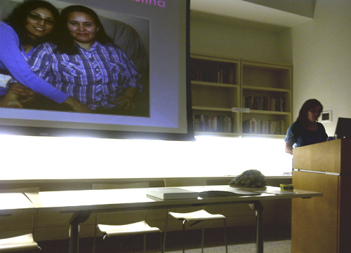 Von Diaz presenting at the New School about Queer Migrations