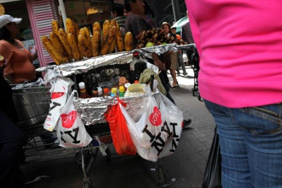 A street vendor on Roosevelt Avenue in Queens
