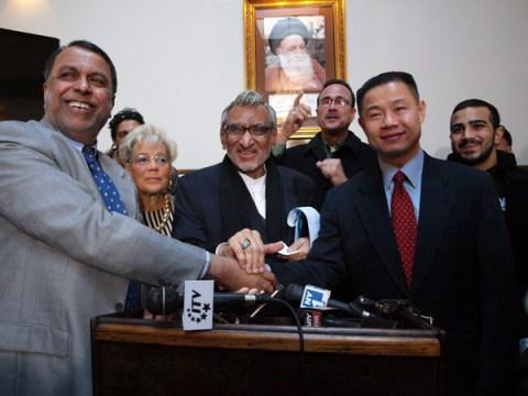 John Liu with supporters