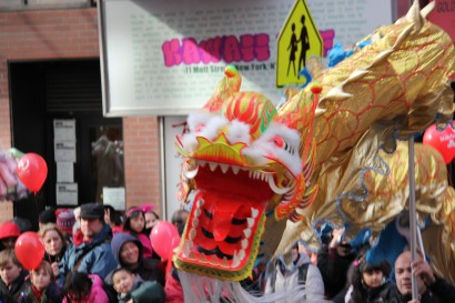 A dragon at the Chinese New Year parade in Chinatown