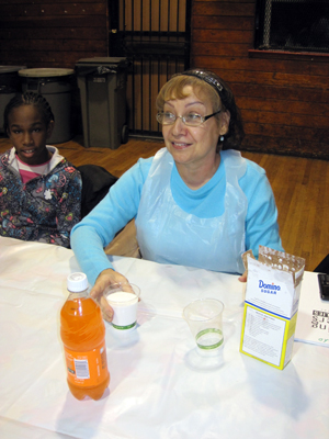 Participants learned about sugary drinks at the City Harvest class in the Bronx