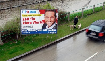 Poster of Heinz-Christian Strache, the leader of Austria's right-wing Freedom Party.