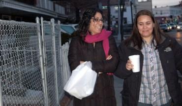 Monica Alcota and Cristina Ojeda walking in Queens