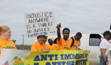 Marchers in the 47th annual civil rights march from Selma to Montgomery
