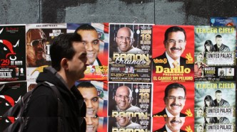 Posters in Washington Heights for candidates in the Dominican Republic