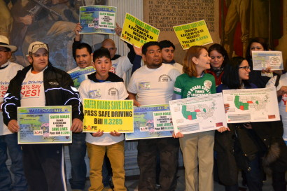 Supporters of the Safe Driving Bill at a press conference in front of the Massachusetts State House. Photo: Safe Driving Coalition