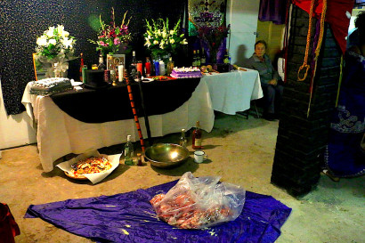 An altar at a Haitian Vodou ceremony in Passaic, New Jersey. Photo: Rachael Bongiorno