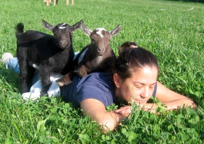 Maria del Carmen Martinez with baby goats