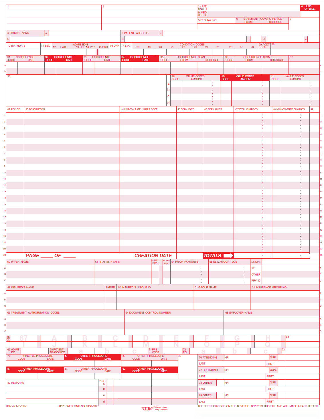 Ub 04 Billing Claim Form Paper Forms Free Priority