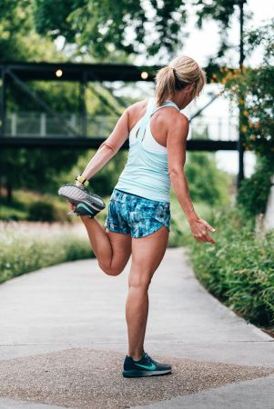 Middle aged woman exercising