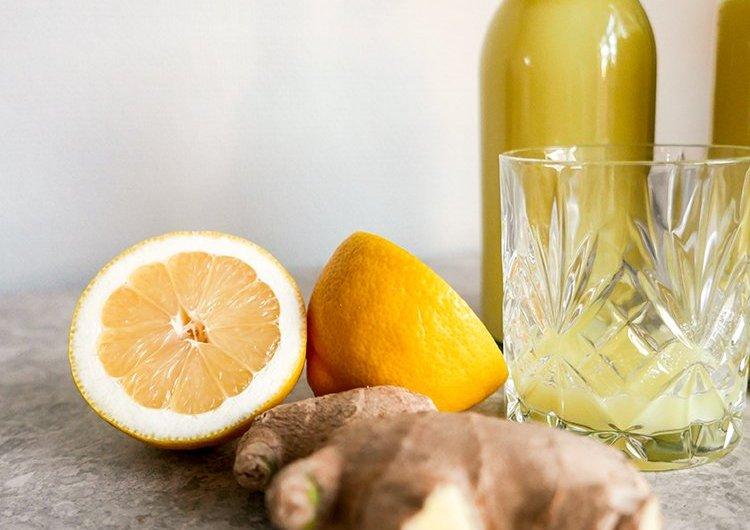 Shot med ingefära, citron och honung