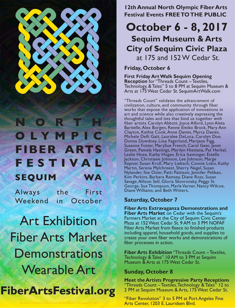 Poster of events for the 2017 North Olympic Fiber Arts Festival