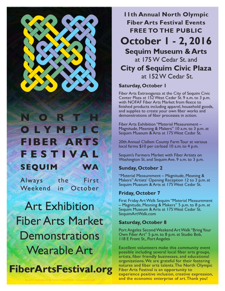 North Olympic Fiber Arts Festival Oct 1 and 2, 2016