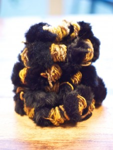 """WoolWench's gorgeous """"tiger"""" striped """"Can you Spin This?"""" yarn"""