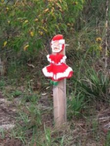 Yard Sale Santa has new life as a yarn bomb at the beach!