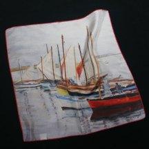 Pier Buyle petit carré soie imprimé bateaux