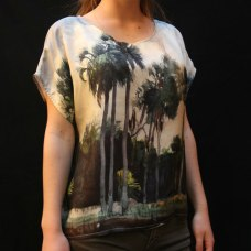 Custom printed twill silk top