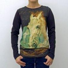 T-shirt imprimé d'unportrait de cheval Toulouse-Lautrec.