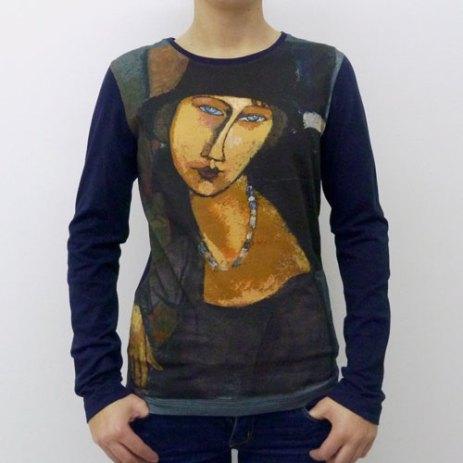 T-shirt imprimé portrait Modigiliani coton manches longues Fibra Creativa