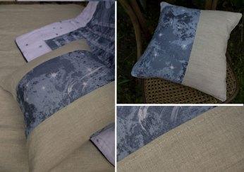 Coussins lin imprimé et naturel sorciere des couleurs