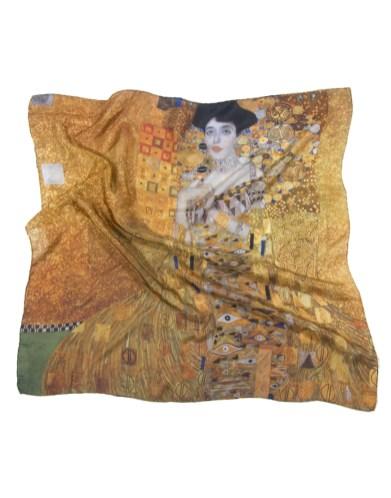 Foulard Klimt Adèle Bloch-Bauer soie naturelle 68x68 cm