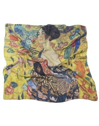Foulard Gustav Klimt Dame à l'éventail 100% soie