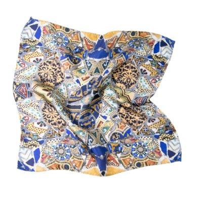 Pochette en soie pour homme imprimé Gaudi mosaique