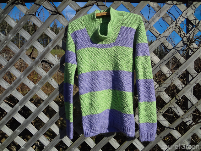 a photograph of a double moss stitch jumper from a pattern by garnstudio drops