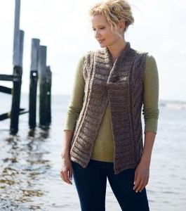 Montague Bulky Lace Vest from New England Knits. Photo copyright Interweave.