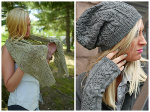 Wheaten Wrap, Cap, and Fingerless Mitts by Anne Hanson