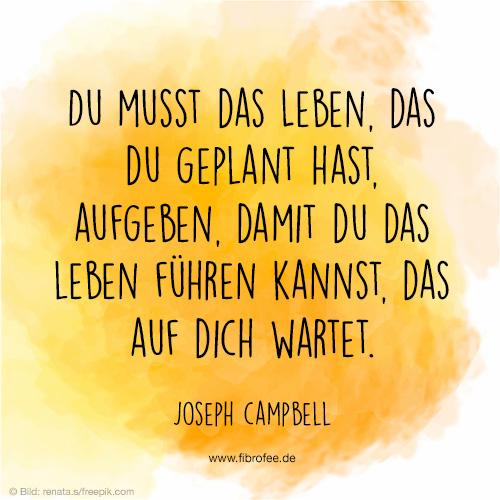 Du musst das Leben, das du geplant hast aufgeben, damit du das Leben führen kannst, das auf dich wartet. Joseph Campbell