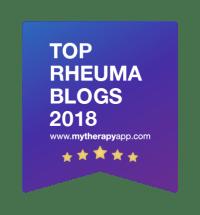 """Das Bild zeigt ein blaues Badge, das die Auszeichnung """"Top Rheuma Blogs 2018"""" auszeichnet, verliehen von mytherpyapp.com"""