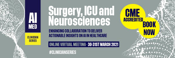Clinician Series via 'AIMed' Surgery and Procedural Virtual Event Banner.  AI in Medicine