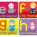 abecedario en inglés letra e, f, g, h