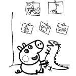 dibujo para colorear de george pig y su dinosaurio