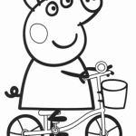 dibujo para colorear de peppa pig en bicicleta