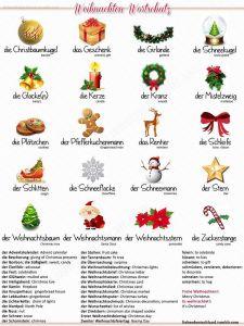 fichas de vocabulario en aleman la navidad
