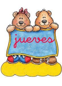 carteles de los días de la semana para infantil: jueves