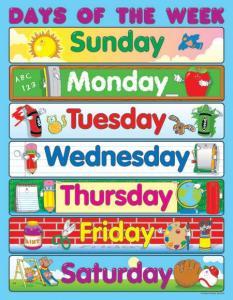 aprender inglés: los días de la semana