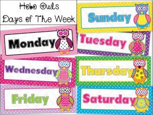 Fichas en inglés de los días de la semana