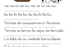 fichas de lectura letras v y b