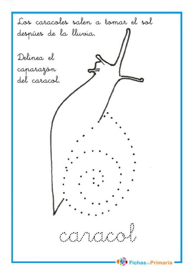 ejercicios de trazos delinear caracol