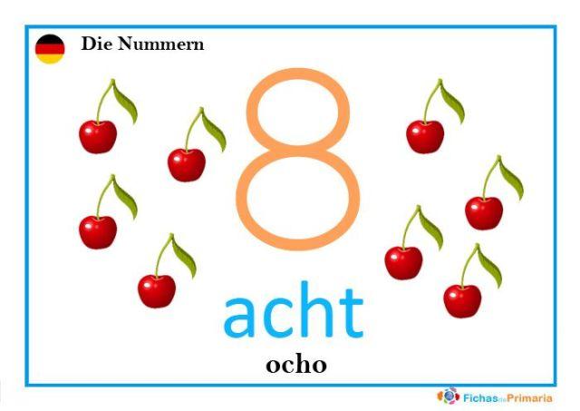 fichas de los números en alemán: acht
