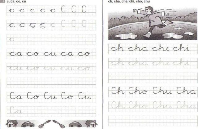 caligrafía en cuadrícula c-ch