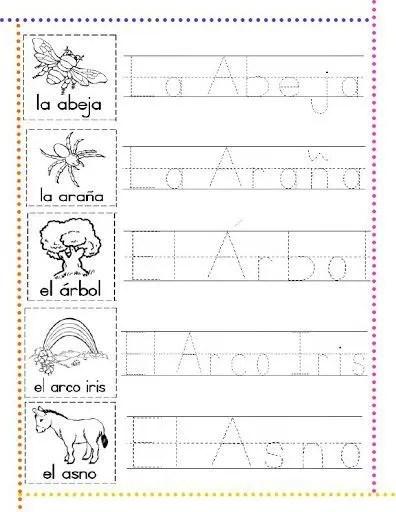caligrafía infantil letra a