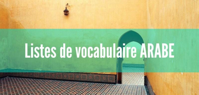 fiches liste vocabulaire arabe pdf